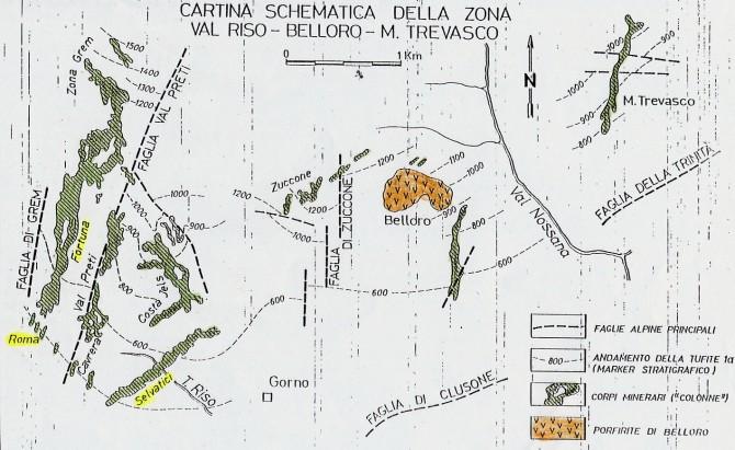 Carta delle miniere del monte Grem
